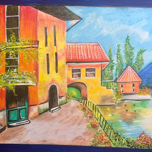 greek town by the river, 11 x 8 inch, tulika sharma,11x8inch,fabriano sheet,wildlife paintings,landscape paintings,nature paintings | scenery paintings,paintings for dining room,paintings for living room,paintings for office,paintings for dining room,paintings for living room,paintings for office,pastel color,pencil color,poster color,watercolor,GAL03091143265