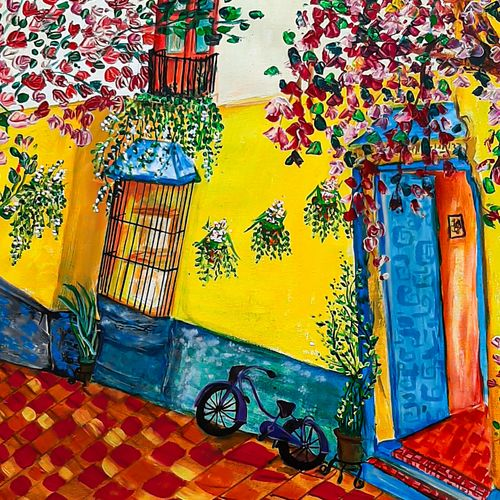 colourful street, 24 x 26 inch, nayana b.c,24x26inch,canvas,paintings,flower paintings,landscape paintings,modern art paintings,nature paintings | scenery paintings,art deco paintings,street art,paintings for dining room,paintings for living room,paintings for bedroom,paintings for office,paintings for kids room,paintings for hotel,paintings for school,acrylic color,ink color,GAL02908243266