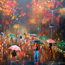 rainy day, 30 x 30 inch, arjun das,nature paintings,paintings for bedroom,canvas,acrylic color,30x30inch,GAL01124327Nature,environment,Beauty,scenery,greenery