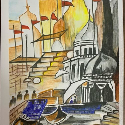 ghats of india, 8 x 11 inch, tulika sharma,8x11inch,drawing paper,modern art paintings,religious paintings,nature paintings | scenery paintings,realism paintings,surrealism paintings,realistic paintings,paintings for dining room,paintings for living room,paintings for office,paintings for bathroom,paintings for hotel,paintings for dining room,paintings for living room,paintings for office,paintings for bathroom,paintings for hotel,acrylic color,ink color,mixed media,oil color,pen color,watercolor,GAL03091143271