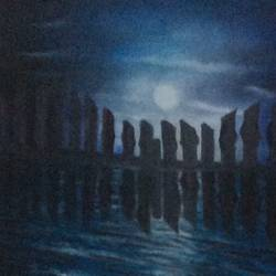 moon and the sea, 12 x 12 inch, rajesh  mehta,12x12inch,canvas,paintings,nature paintings | scenery paintings,paintings for dining room,paintings for living room,paintings for bedroom,paintings for hotel,oil color,GAL03091443278