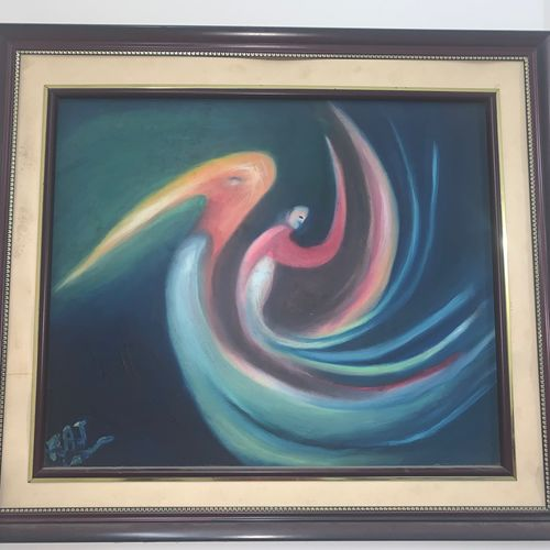 soul with the swan , 24 x 18 inch, rajesh  mehta,24x18inch,canvas,paintings,modern art paintings,paintings for dining room,paintings for living room,paintings for bedroom,paintings for office,paintings for hotel,paintings for hospital,oil color,GAL03091443279