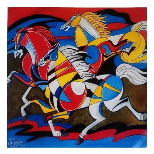 horse 1, 21 x 21 inch, paresh more,wildlife paintings,paintings for living room,horse paintings,canvas,acrylic color,21x21inch,GAL09974328
