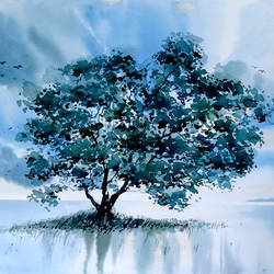solitary tree, 22 x 15 inch, raji p,22x15inch,canson paper,paintings,wildlife paintings,figurative paintings,foil paintings,landscape paintings,conceptual paintings,still life paintings,nature paintings | scenery paintings,impressionist paintings,paintings for dining room,paintings for living room,paintings for bedroom,paintings for office,paintings for bathroom,paintings for kids room,paintings for hotel,paintings for kitchen,paintings for school,paintings for hospital,watercolor,GAL059043286