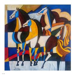 horse 2, 21 x 21 inch, paresh more,wildlife paintings,paintings for living room,abstract paintings,animal paintings,horse paintings,canvas,acrylic color,21x21inch,GAL09974329
