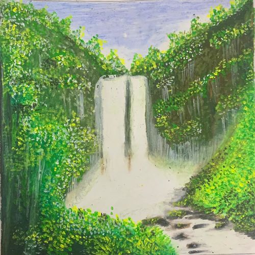waterfall scenery mist, 5 x 6 inch, tulika sharma,5x6inch,thick paper,paintings,still life paintings,portrait paintings,nature paintings   scenery paintings,paintings for dining room,paintings for living room,paintings for bedroom,paintings for office,paintings for bathroom,paintings for kids room,paintings for hotel,paintings for kitchen,paintings for school,paintings for hospital,oil color,pastel color,watercolor,paper,GAL03091143291