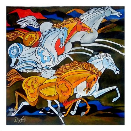 horse 3, 24 x 24 inch, paresh more,wildlife paintings,paintings for living room,animal paintings,horse paintings,canvas,acrylic color,24x24inch,GAL09974330