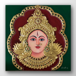 durga, 12 x 12 inch, sudha b.,12x12inch,canvas,paintings,religious paintings,tanjore paintings,paintings for dining room,paintings for living room,paintings for office,paintings for hotel,paintings for school,paintings for hospital,acrylic color,GAL03090243308