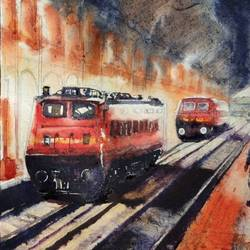 morning light sealdah station, 15 x 11 inch, krishna  mondal ,15x11inch,handmade paper,cityscape paintings,watercolor,GAL03095443312