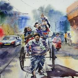 hand pulled rickshaw, kolkata, 15 x 11 inch, krishna  mondal ,15x11inch,handmade paper,paintings,cityscape paintings,watercolor,GAL03095443313