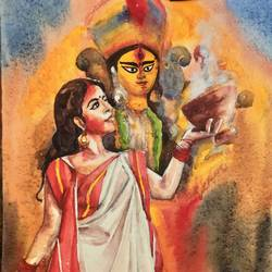 ma durga & dhunuchi lady , 15 x 11 inch, krishna  mondal ,15x11inch,handmade paper,paintings,cityscape paintings,watercolor,GAL03095443314