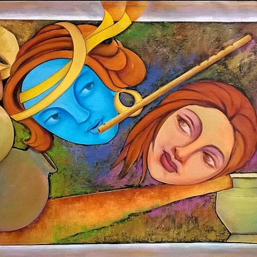 radha - shyam, 34 x 22 inch, a.b.  kaser,34x22inch,canvas,paintings,abstract paintings,figurative paintings,religious paintings,abstract expressionism paintings,art deco paintings,expressionism paintings,radha krishna paintings,contemporary paintings,love paintings,paintings for dining room,paintings for living room,paintings for bedroom,paintings for office,paintings for kids room,paintings for hotel,acrylic color,GAL063643329