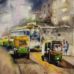 kolkata cityscape , 22 x 30 inch, krishna  mondal ,22x30inch,handmade paper,paintings,cityscape paintings,watercolor,GAL03095443342