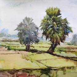 nature study  , 15 x 11 inch, krishna  mondal ,15x11inch,handmade paper,paintings,landscape paintings,watercolor,GAL03095443344