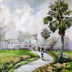 green village , 11 x 15 inch, krishna  mondal ,11x15inch,handmade paper,paintings,nature paintings | scenery paintings,watercolor,GAL03095443348