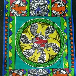 fishy story, 11 x 10 inch, rayana saha,11x10inch,drawing paper,paintings,madhubani paintings | madhubani art,paintings for dining room,paintings for living room,paintings for office,paintings for kids room,paintings for hotel,paintings for school,acrylic color,GAL01304643349