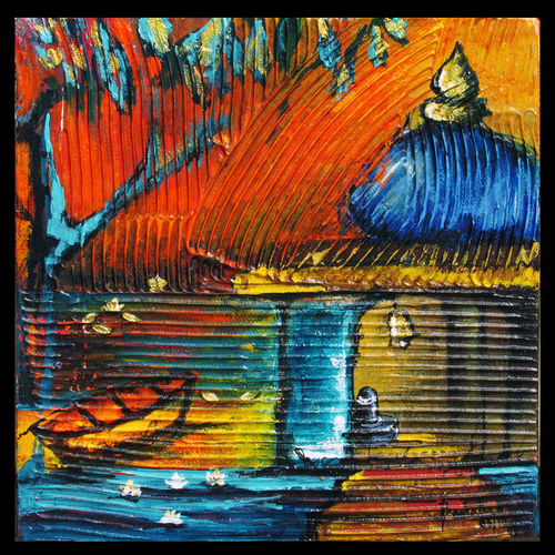 spiritual revelation - s5, 8 x 8 inch, prashalee gaikwad,abstract paintings,paintings for living room,religious paintings,canvas,acrylic color,8x8inch,GAL012144335