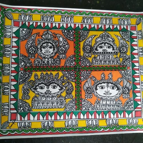 surya devta1, 12 x 10 inch, rayana saha,12x10inch,drawing paper,paintings,madhubani paintings | madhubani art,paintings for dining room,paintings for living room,paintings for office,paintings for hotel,paintings for kitchen,paintings for school,ink color,GAL01304643350