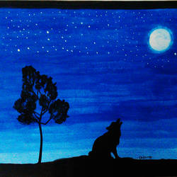 lone wolf, 11 x 8 inch, balasaranya varadhalingam,11x8inch,paper,paintings,abstract paintings,portrait paintings,nature paintings   scenery paintings,paintings for living room,acrylic color,poster color,GAL03096943354
