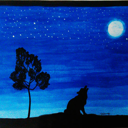 lone wolf, 11 x 8 inch, balasaranya varadhalingam,11x8inch,paper,paintings,abstract paintings,portrait paintings,nature paintings | scenery paintings,paintings for living room,acrylic color,poster color,GAL03096943354