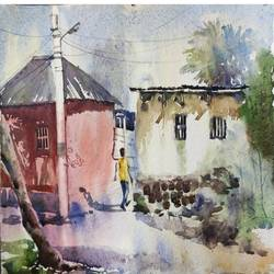 village sccape painting, 15 x 11 inch, krishna  mondal ,15x11inch,handmade paper,paintings,nature paintings | scenery paintings,watercolor,GAL03095443355