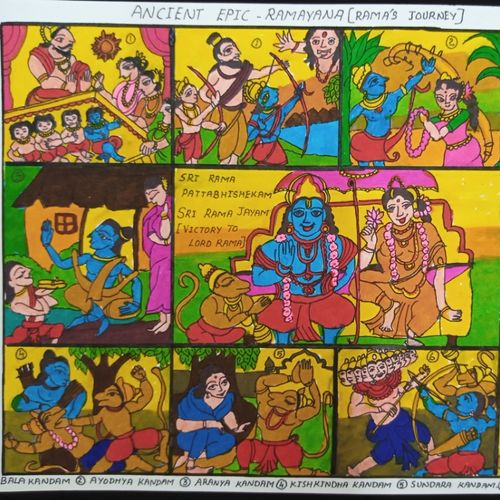 ramayana, 12 x 17 inch, charuhasini b,12x17inch,thick paper,drawings,conceptual drawings,paintings for living room,watercolor,GAL02937643357