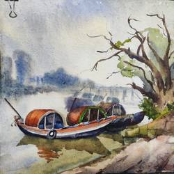 river scape boat , ghat kolkata, 15 x 11 inch, krishna  mondal ,15x11inch,handmade paper,paintings,impressionist paintings,paintings for bathroom,watercolor,GAL03095443366