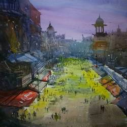 mumbai, 24 x 36 inch, sankar thakur,cityscape paintings,paintings for living room,vertical,paper,watercolor,24x36inch,GAL074337