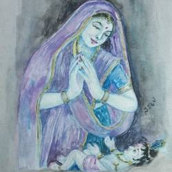 krishna with devaki maa, 8 x 12 inch, krishna  sarvaiya,religious paintings,paintings for living room,radha krishna paintings,paper,watercolor,8x12inch,GAL015264338