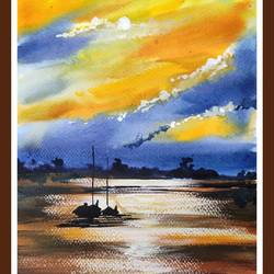 evening light, 8 x 11 inch, shankhadeep  mondal,8x11inch,brustro watercolor paper,landscape paintings,nature paintings | scenery paintings,paintings for dining room,paintings for living room,paintings for bedroom,paintings for office,paintings for kids room,paintings for hotel,paintings for kitchen,paintings for school,paintings for hospital,paintings for dining room,paintings for living room,paintings for bedroom,paintings for office,paintings for kids room,paintings for hotel,paintings for kitchen,paintings for school,paintings for hospital,watercolor,GAL01403043396