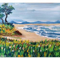 the beach, 8 x 6 inch, shankhadeep  mondal,8x6inch,thick paper,paintings,landscape paintings,nature paintings | scenery paintings,paintings for dining room,paintings for living room,paintings for bedroom,paintings for office,paintings for kids room,paintings for hotel,paintings for kitchen,paintings for school,paintings for hospital,oil color,GAL01403043398