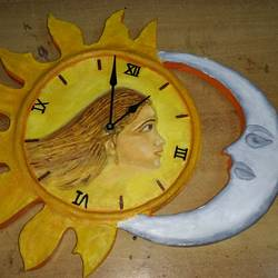 real wall clock in sun & moon shape, 12 x 12 inch, krishna  sarvaiya,art deco paintings,paintings for bedroom,ply board,oil,12x12inch,GAL015264340