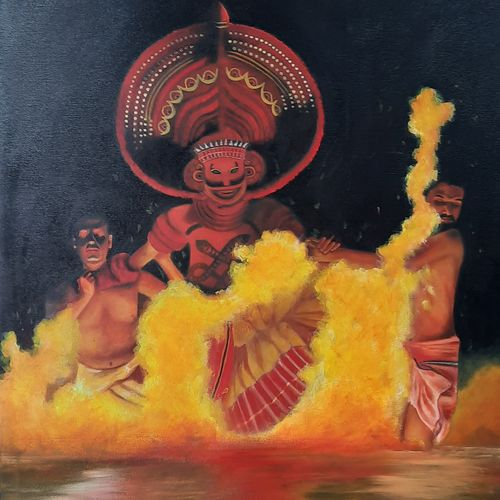 kerala art theyyam, 20 x 30 inch, rijoy  emmanuel,20x30inch,canvas,paintings,figurative paintings,folk art paintings,conceptual paintings,religious paintings,nature paintings | scenery paintings,paintings for dining room,paintings for living room,paintings for hotel,paintings for school,acrylic color,GAL0643143403