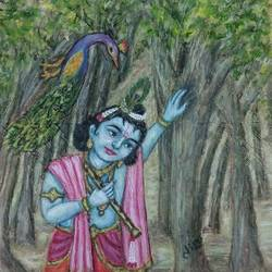 krishna, 13 x 13 inch, krishna  sarvaiya,figurative paintings,paintings for living room,radha krishna paintings,paper,watercolor,13x13inch,GAL015264342
