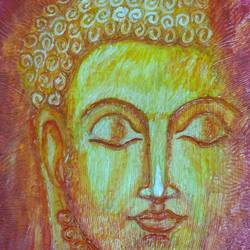 lord buddha, 10 x 12 inch, krishna  sarvaiya,buddha paintings,paintings for living room,religious paintings,paintings for office,thick paper,watercolor,10x12inch,religious,peace,meditation,meditating,gautam,goutam,buddha,yellow,face,GAL015264343