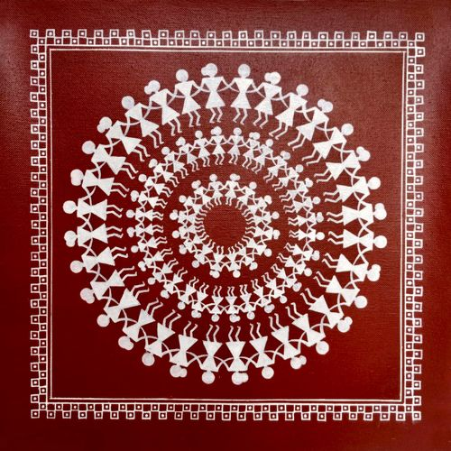 warli indian art, 13 x 13 inch, nisha agarwal,13x13inch,canvas,paintings,folk art paintings,art deco paintings,warli paintings,paintings for dining room,paintings for living room,paintings for bedroom,paintings for office,paintings for bathroom,paintings for kids room,paintings for hotel,paintings for kitchen,paintings for school,paintings for hospital,acrylic color,GAL0203743430