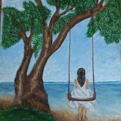 girl at beach, 18 x 13 inch, krishna  sarvaiya,figurative paintings,paintings for living room,canvas,oil,18x13inch,GAL015264344