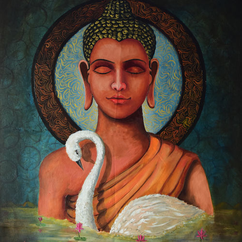 buddha 1, 28 x 38 inch, kuljeet singh,paintings for office,buddha paintings,canvas,mixed media,28x38inch,religious,peace,meditation,meditating,gautam,goutam,buddha,swan,brown,face,peaceful,GAL02154345