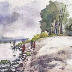 river scape painting ,west bengal , 15 x 11 inch, krishna  mondal ,15x11inch,handmade paper,paintings,landscape paintings,paintings for living room,paintings for bedroom,paintings for kitchen,paintings for school,paintings for living room,paintings for bedroom,paintings for kitchen,paintings for school,watercolor,GAL03095443450
