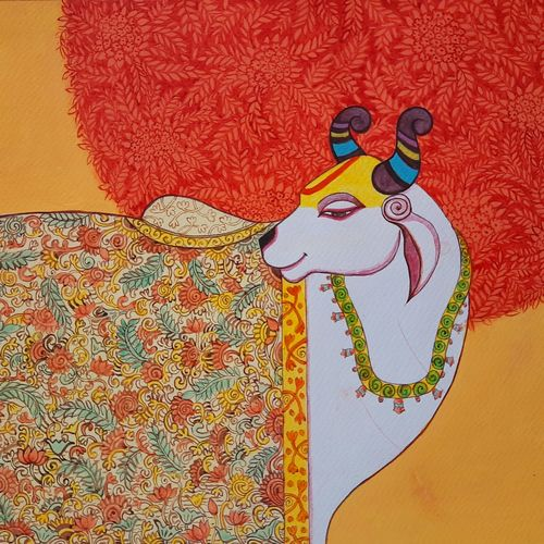 cow, 11 x 13 inch, swarnali sen,11x13inch,fabriano sheet,paintings,paintings for living room,acrylic color,GAL03093943453