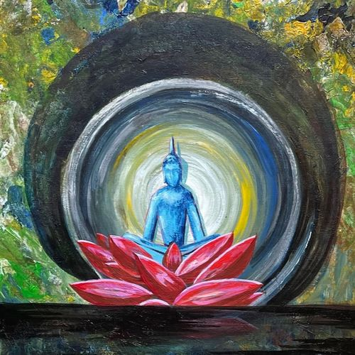 healing -1, 15 x 37 inch, priyanka dutt,15x37inch,canvas,paintings,buddha paintings,paintings for living room,paintings for office,mixed media,GAL087943457
