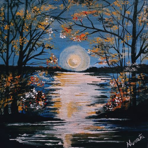 moonlight , 12 x 14 inch, namrata verma,12x14inch,canvas,nature paintings | scenery paintings,paintings for living room,paintings for living room,acrylic color,GAL03102243459