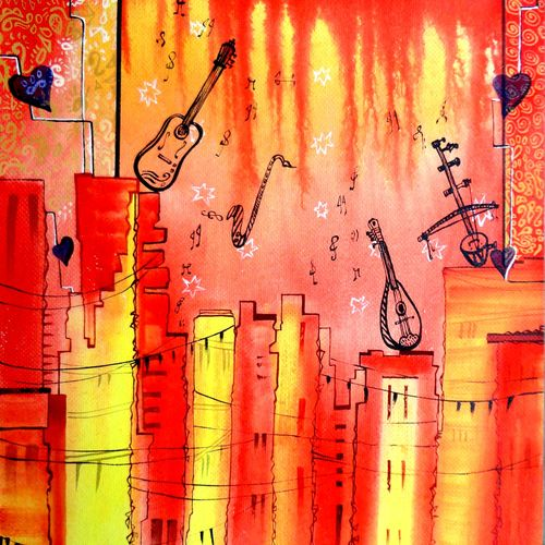 the music2, 15 x 22 inch, kankana  pal,paintings for bedroom,paintings for office,expressionist paintings,vertical,paper,mixed media,15x22inch,GAL08334346