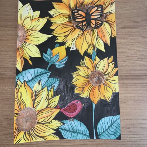 sunflower , 12 x 17 inch, janavi mehta,12x17inch,ivory sheet,paintings,wildlife paintings,landscape paintings,nature paintings | scenery paintings,paintings for dining room,paintings for living room,paintings for bedroom,paintings for office,paintings for bathroom,paintings for kids room,paintings for hotel,paintings for kitchen,paintings for school,paintings for hospital,watercolor,GAL03093343469