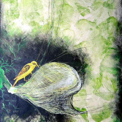 the nest, 15 x 22 inch, kankana  pal,paintings for bedroom,expressionist paintings,vertical,paper,mixed media,15x22inch,GAL08334347