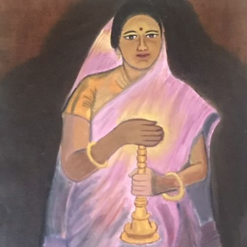 lady with a lamp, 17 x 23 inch, srividhya anand,17x23inch,canvas,figurative paintings,paintings for living room,paintings for hotel,paintings for living room,paintings for hotel,oil color,GAL03104543473
