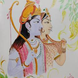 an epitome of true love and respect, 11 x 16 inch, pranoti kirtikar,11x16inch,renaissance watercolor paper,paintings,religious paintings,paintings for living room,paintings for office,paintings for hotel,paintings for hospital,acrylic color,mixed media,GAL02312443474