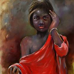 penuri girl, 24 x 36 inch, bijendra  pratap ,figurative paintings,paintings for dining room,vertical,canvas,acrylic color,24x36inch,GAL04534348