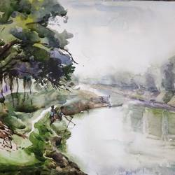 river side view, 15 x 11 inch, krishna  mondal ,15x11inch,cartridge paper,paintings,nature paintings | scenery paintings,paintings for dining room,paintings for living room,paintings for office,paintings for bathroom,paintings for kitchen,paintings for school,paintings for hospital,watercolor,GAL03095443481