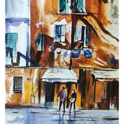 old building, 11 x 16 inch, shankhadeep  mondal,11x16inch,brustro watercolor paper,paintings,cityscape paintings,paintings for dining room,paintings for living room,paintings for bedroom,paintings for office,paintings for kids room,paintings for hotel,paintings for kitchen,paintings for school,paintings for hospital,watercolor,GAL01403043483